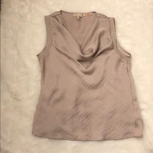 Lavender/blush satin sleeveless top.